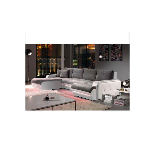 Canapé d'angle fixe gauche avec led gris et blanc Planete