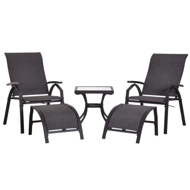 OUTSUNNY - Ensemble salon de jardin 5 pièces : 2 chaises longues ...