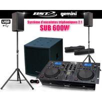 Gemini - Pack Sono triphoniques 2.1 Sub 600W + Lecteur Cd