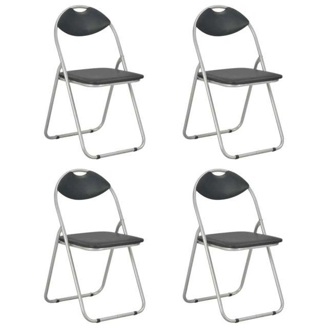 Chaises pliantes de salle à manger 4 pcs Noir Similicuir