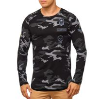 Violento - Pull camouflage militaire homme Pull 1056 noir