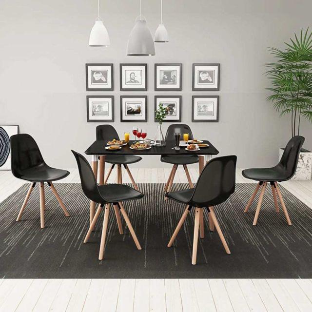 Vidaxl Ensemble de table et de chaises de salle à manger cuisine 7 pcs Noir