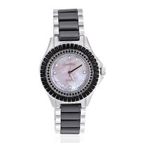 Blue Pearls - Montre Céramique et Cristal de Swarovski Elements Noirs - Cw 0004 M