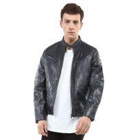 REDSKINS - Blouson en cuir de mouton bleu jeans à capuche - LYNCH CASTING- Triple XL