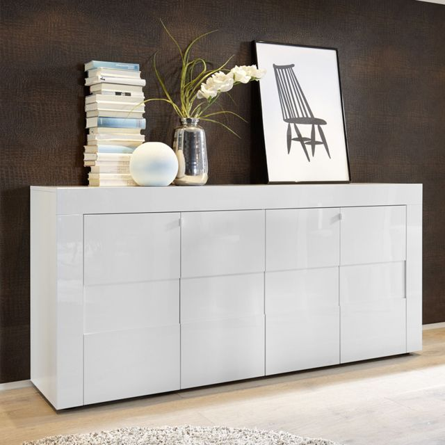 Kasalinea Bahut blanc laqué brillant design Newland