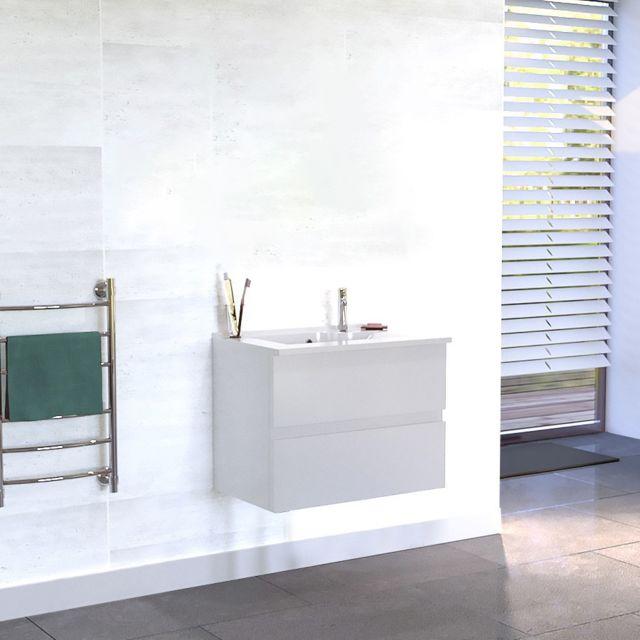 CREAZUR Caisson simple vasque ROSALY 60 - Blanc brillant