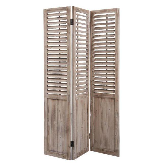 aubry gaspard paravent 3 panneaux en bois vieilli multicolore 129cm x 182cm pas cher achat. Black Bedroom Furniture Sets. Home Design Ideas
