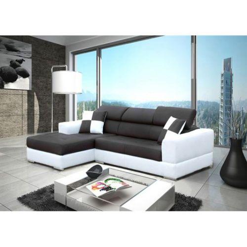 meublesline canap d 39 angle 4 places neto moderne noir et blanc simili cuir noir blanc 165cm. Black Bedroom Furniture Sets. Home Design Ideas