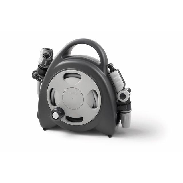Divers Gf - Mini dévidoir Aquabag + raccords et lance d'arrosage 11,5 m - Gris