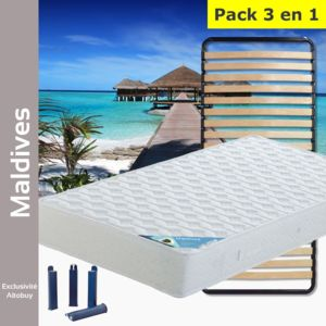 altobuy maldives pack matelas lattes 90x200 pieds blanc 90cm x 90cm pas cher achat. Black Bedroom Furniture Sets. Home Design Ideas