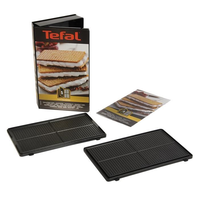 Tefal coffret 2 plaques gaufrettes livre de recettes xa800512 achat gaufrier croque monsieur - Plaque tefal snack collection ...