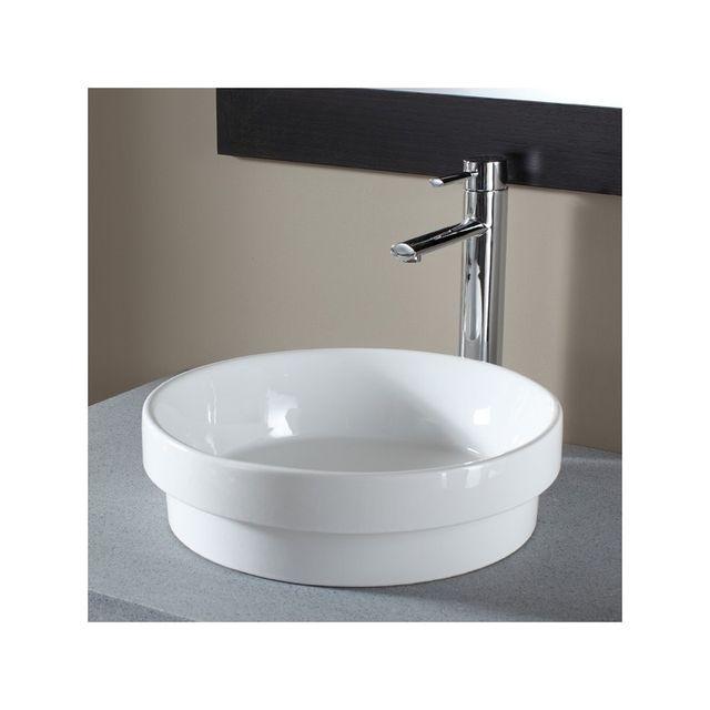 Soldes Vasque semi encastrée ronde blanche Blanc Planete Bain