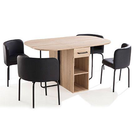 Ensemble table + 4 chaises noires en bois