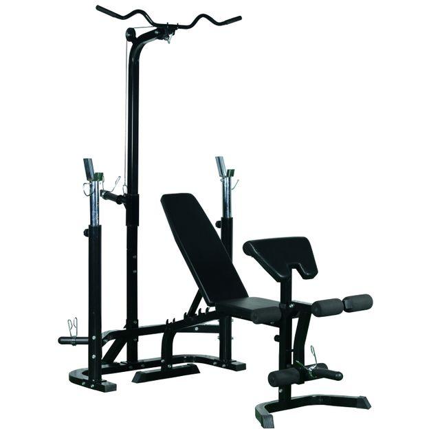HOMCOM - Banc de musculation Fitness entrainement complet dossier réglable barre latissimus curler supports barre et haltères noir neuf 35