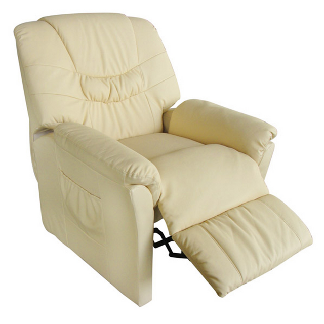 Rocambolesk Superbe Fauteuil relax massant blanc crème Delux Neuf