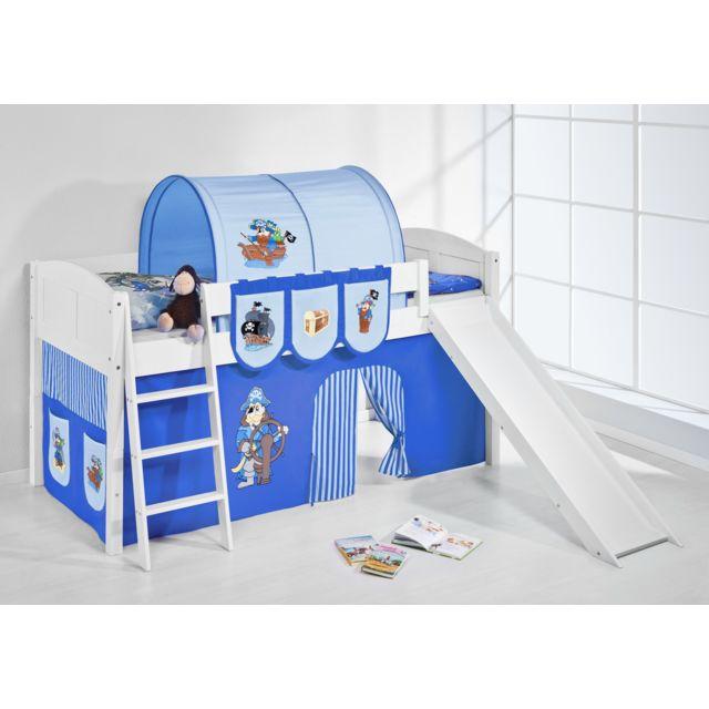 lilokids lit sur lev ludique ida 4106 90x200 cm pirate bleu lit sur lev volutif blanc. Black Bedroom Furniture Sets. Home Design Ideas