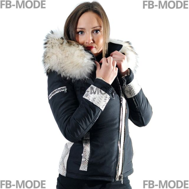 d4f6d24d59 Ventiuno - Emily - Sofia doudoune femme bi-matière cuir d'agneau python et  fourrure véritable cremedoudoune , doudoune femme, veste femme, cuir femme,  ...