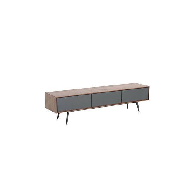 Meuble Tv 1 porte 2 tiroirs gris mat et plaqué noyer - Artic