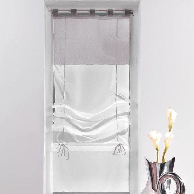Un store droit à passant - rideau voile bicolore blanc / gris 45 x 180 cm