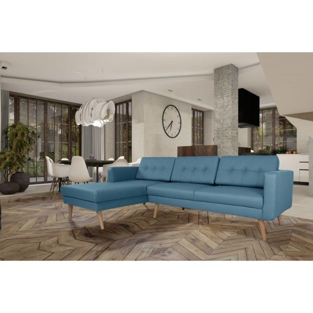 Rocambolesk Canapé Hedvig angle gauche L3 Pu soft 08 bleu avec pieds naturels sofa divan