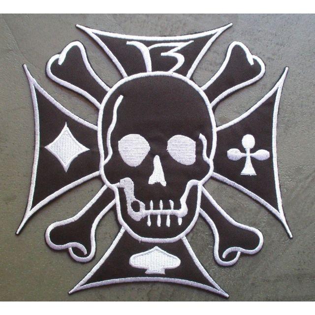 Universel Gros patch crane et croix malte noir blanc 13 ecusson dos