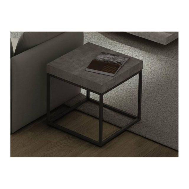 INSIDE 75 PETRA table basse guéridon aspect béton avec piétement métal