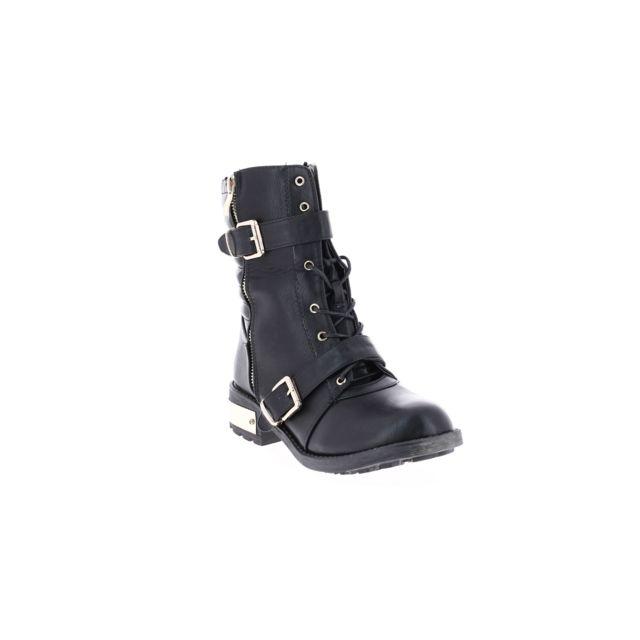df18350b6b9 Ella Lux - Bottines rock à lacets et boucle noir 36 - Noir - pas cher Achat    Vente Bottes femme - RueDuCommerce