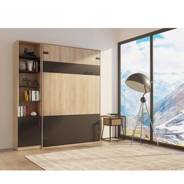 Inside 75 Composition lit escamotable style industriel Tekno bi-ton chêne noir mat 140 200 cm L : 205 cm