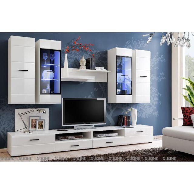 Meubles Design Allure 280 Cm Blanc Laque Avec Led Pour Tv Et Box