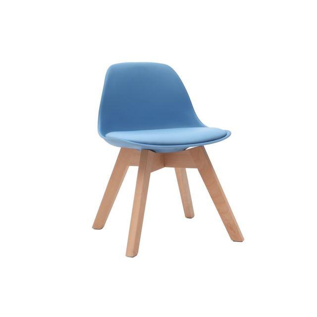 Chaise Baby Pauline Avec Enfant Bleu Design Pieds Bois hQdrtsCx