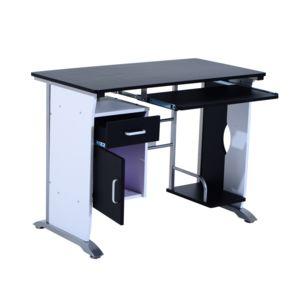 homcom bureau informatique design en mdf 100 l x 52 i x 45h cm noir et blanc 19bk 10cm x 10cm. Black Bedroom Furniture Sets. Home Design Ideas