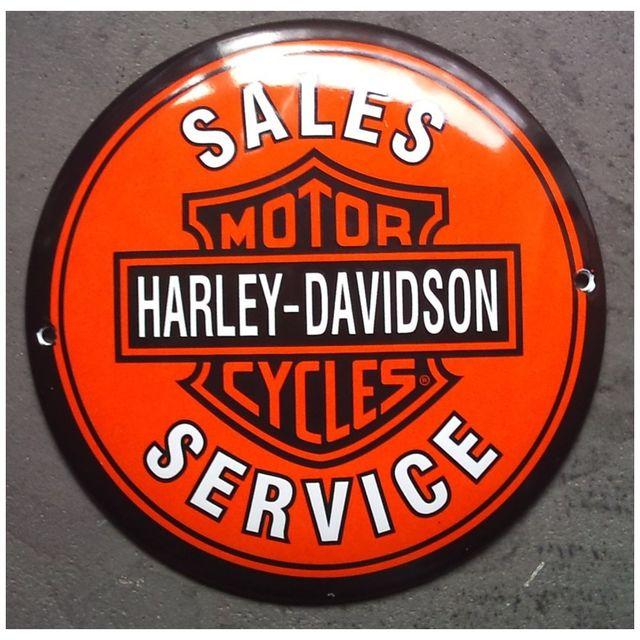 Universel Mini plaque emaillée harley davidson service orange email