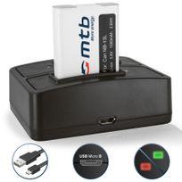 mtb more energy® - Batterie + Double Chargeur USB, pour Nb-13L Nb-13LH / Canon PowerShot G5 X, G7 X, G9 X 3.6V - 1050mAh - avec Infochip