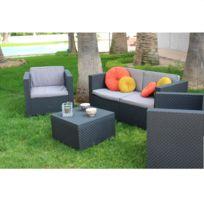 Shaf - Set confort - 2 fauteuils, 1 canapé et 1 table basse - Gris anthracite