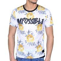 Celebrytees - Celebry Tees - T Shirt - Homme - Impo Rose - Blanc Jaune