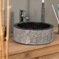 Wanda Collection - Vasque salle de bain en marbre Elbe noir 40cm