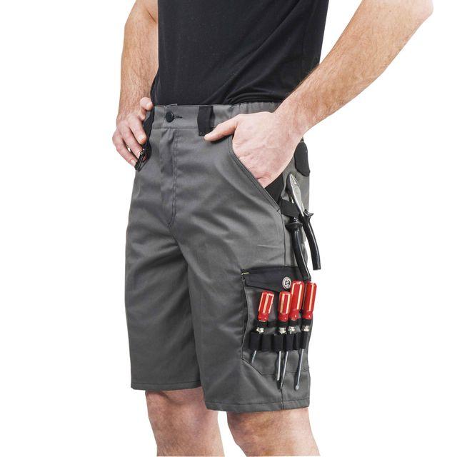 af1a29dfff08a Provence Outillage - Bermuda de travail gris et noir Taille 46 - pas ...