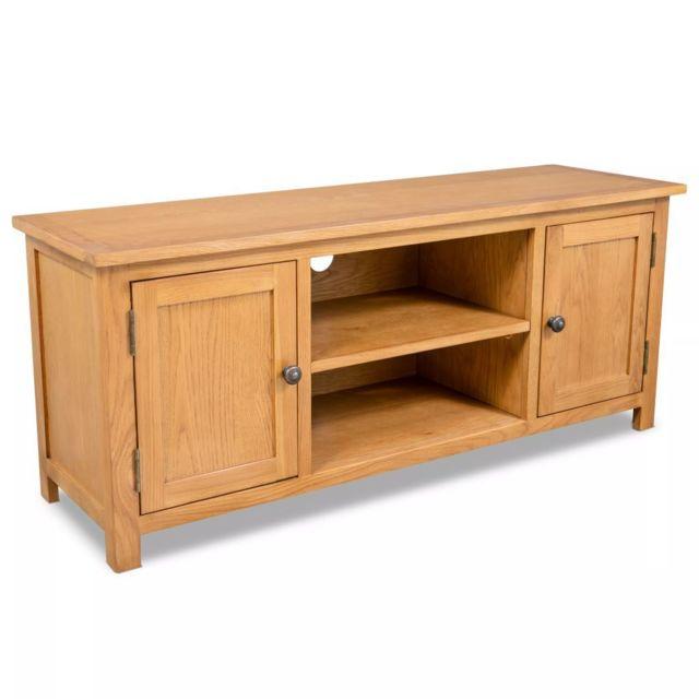 Helloshop26 Meuble télé buffet tv télévision design pratique 120 cm bois de chêne massif 2502064
