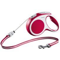 Flexi - Laisse à enrouleur Vario rouge à corde Taille M Longueur 5 m chiens < 20 kg