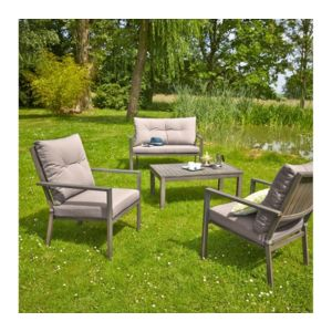 carrefour honfleur salon de jardin bas 1 table basse 2 fauteuils 1 canap aluminium. Black Bedroom Furniture Sets. Home Design Ideas