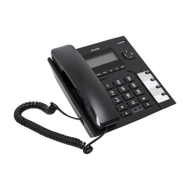 alcatel t l phone filaire temporis 56 noir pas cher achat vente t l phone fixe filaire. Black Bedroom Furniture Sets. Home Design Ideas