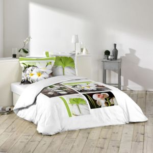 marque generique housse de couette 220x240cm et deux taies tiare 100 coton vert blanc. Black Bedroom Furniture Sets. Home Design Ideas