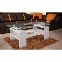 Vidaxl - Table basse de salon en verre et Mdf blanc laqué