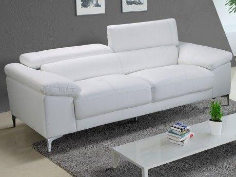 Vente-unique Canapé 3 places en cuir Solange - Blanc