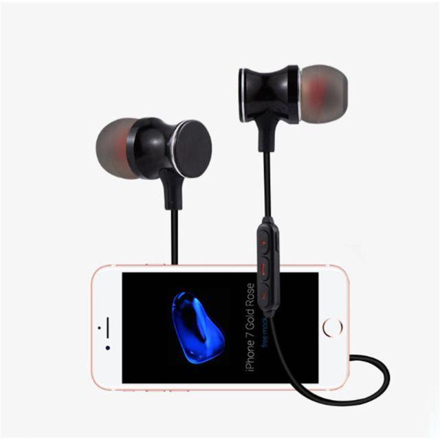 Ecouteurs Bluetooth Metal pour HTC U11 Smartphone Sans Fil Telecommande Son Main Libre INTRA AURICULAIRE Universel ARGENT