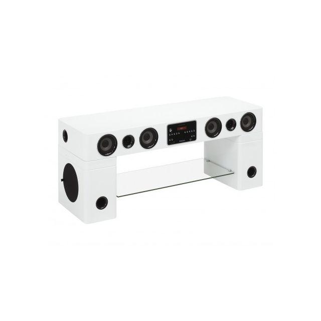 Vente-unique Meuble Tv Home Cinéma intégré Watts Ii - Bluetooth - Blanc