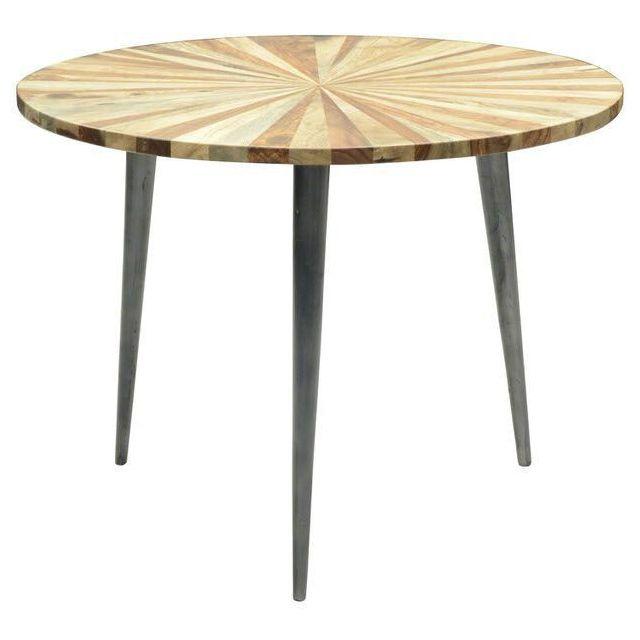 COMFORIUM Tables basse ronde en bois massif Sheesham à rayures avec piètement en acier 60Ø cm