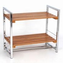 Instant d'O - Etagère 2 niveaux de rangement pour salle de bain - Bambou et métal