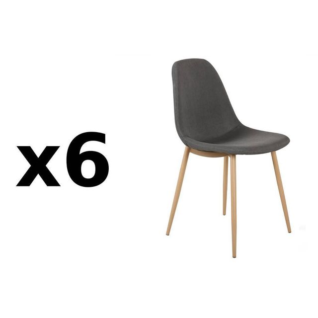 322f5de18dfba Inside 75 - Lot de 6 chaises Stockholm design scandinave tissu graphite