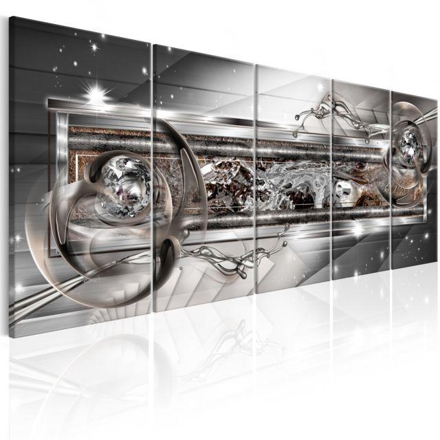 Tableau Silver Shine Décoration Image Art Abstraction Modernes 225x90 Cm Xl Grand Format
